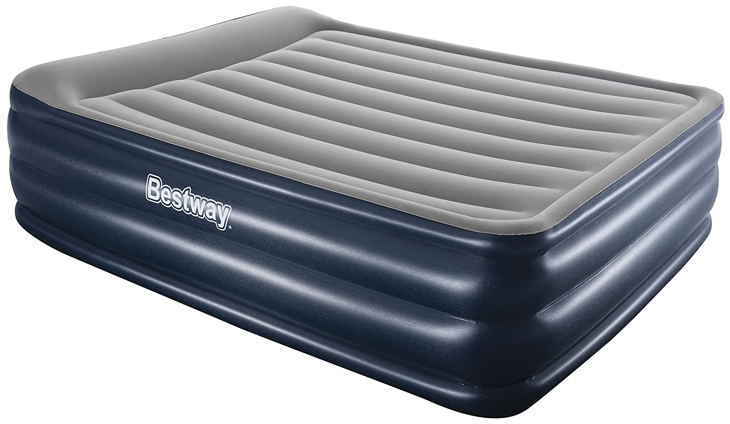Bestway Airbeds Flocked Cornerstone Quick Inflation Indoor Air Mattress with Built-In Pump/Pillow and Travel Bag, Blue, Queen BW67528