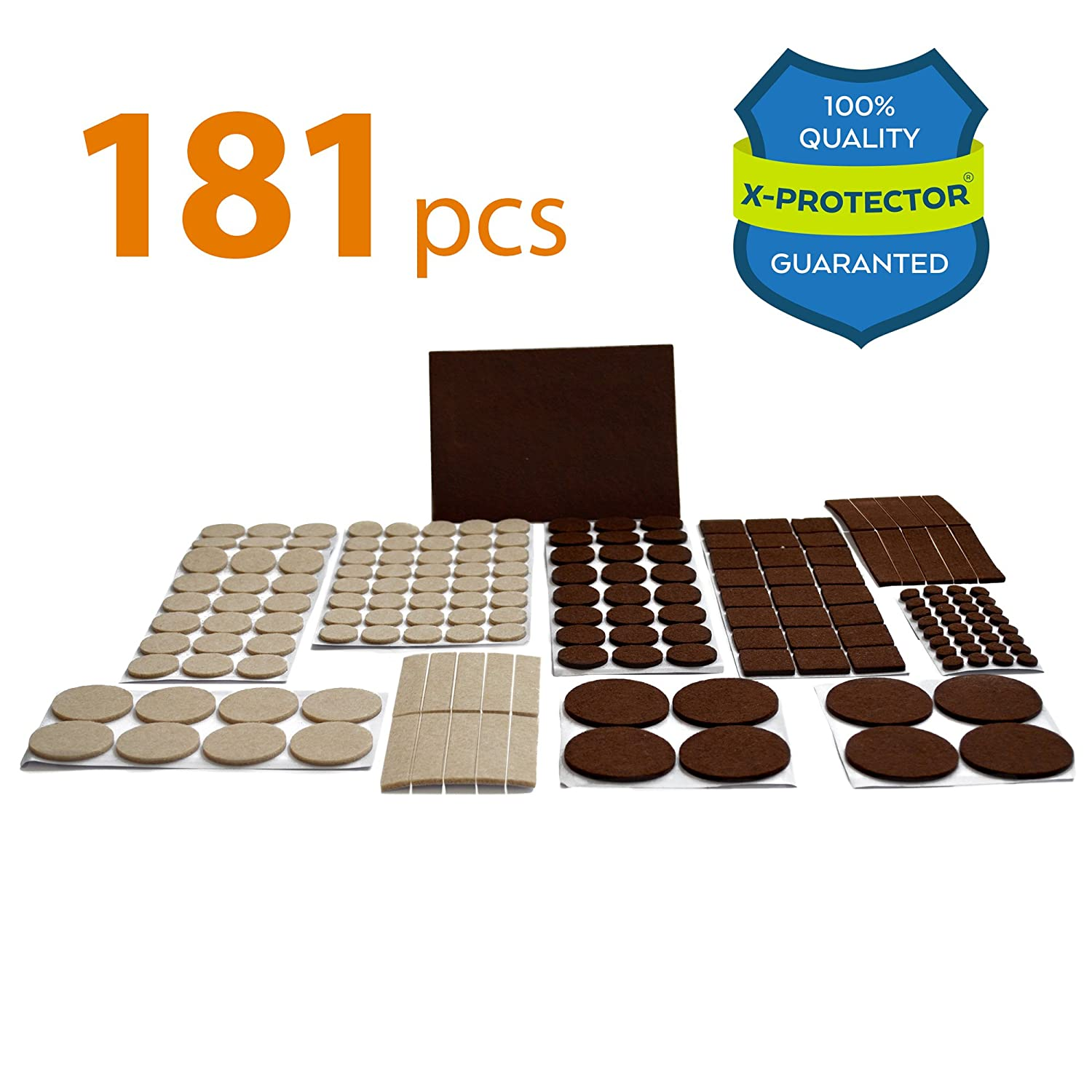 X PROTECTOR Premium ULTRA LARGE PACK Felt Furniture Pads 181 piece