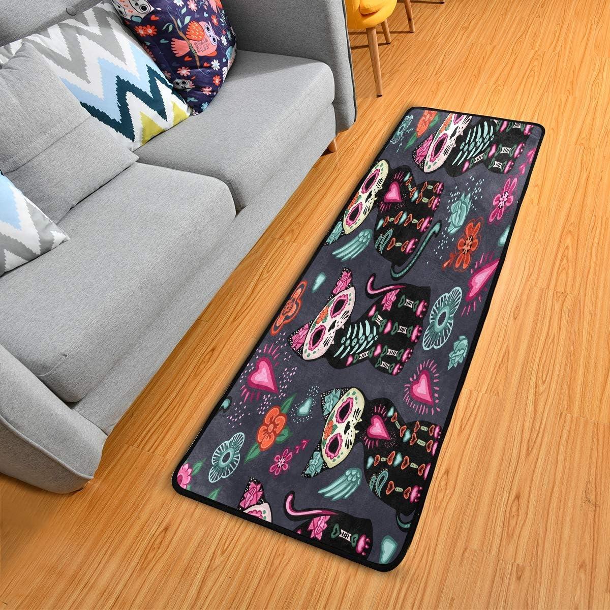 Floor Mat Sugar Skull Cat Flower Pattern,Non Slip Runner Rug for Hallway Entry Way Floor Carpet 2 x 6 , 72×24 inches