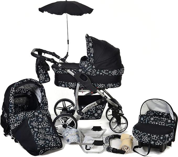 Twing, sistema de viaje 3 en 1 con carrito de bebé, asiento de coche, cochecito y accesorios, diseño de color negro con flores blancas