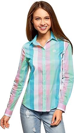 oodji Ultra Mujer Blusa a Cuadros Recta: Amazon.es: Ropa y accesorios