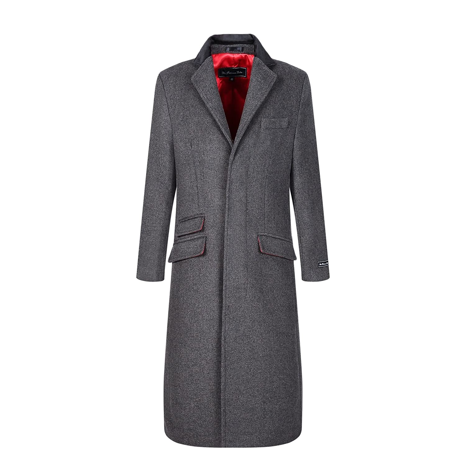 The Platinum Tailor Mens Grey Wool & Cashmere Covert Overcoat Warm Winter MOD Cromby Coat Velvet Collar & Red Satin Lining