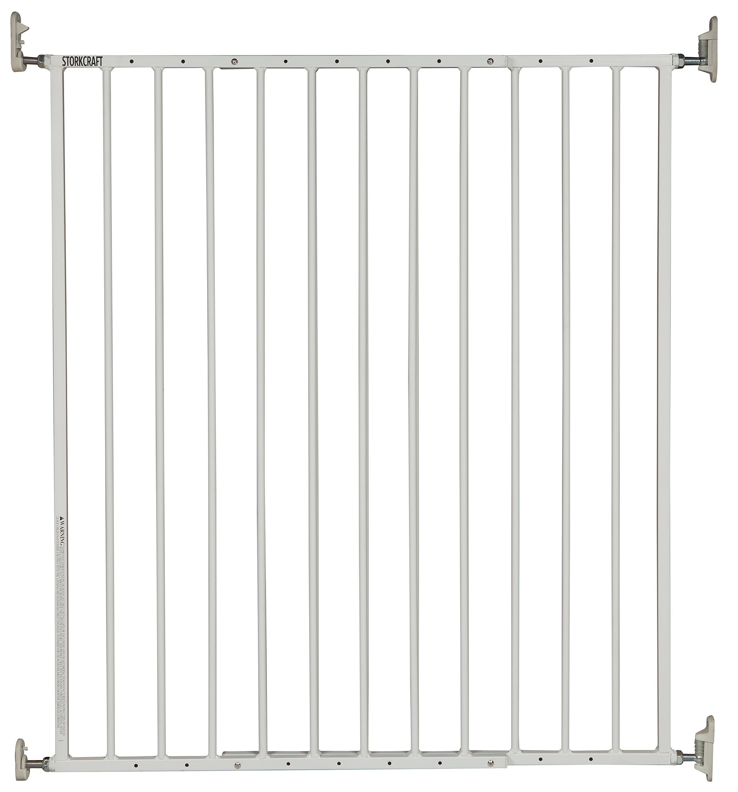 Storkcraft Easy Walk-Thru Tall Metal Safety Gate, White Adjustable Baby Safety Gate For Doorways and Stairs, Great for Children and Pets