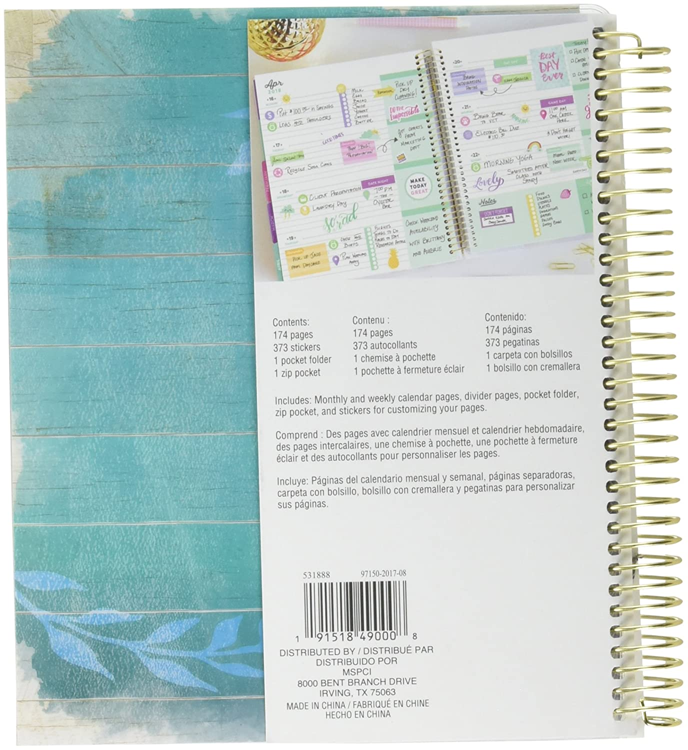 Recollections 2018 ID RATHER BE A MERMAID Spiral Daily Planner 7.5 in x 9.25 in