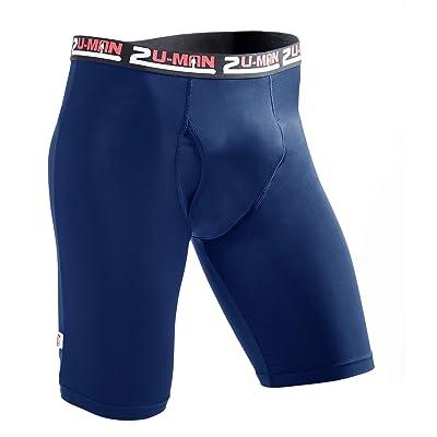 2U-MAN Sports Long Leg Bamboo Boxer Briefs with Fly Blue Black, Navy, Medium at Men's Clothing store
