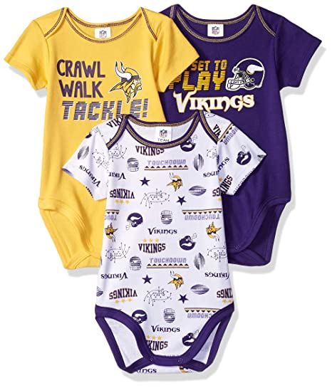 290d126254e Image Unavailable. Image not available for. Color: NFL Minnesota Vikings  Unisex-Baby 3-Pack Short Sleeve ...