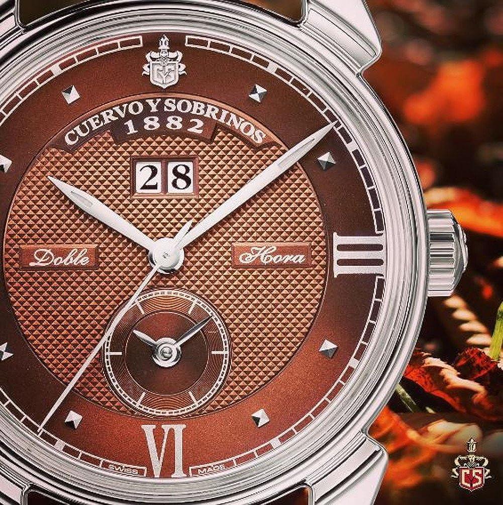 Cuervo Y Sobrinos 3194d.1t Hombres Swiss reloj de lujo del historiador Dual tiempo Dial de tabaco marrón mate correa: Cuervo y Sobrinos: Amazon.es: Relojes
