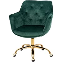 MOJAY Home Office Desk Chairs Velvet Computer Chair with Armrest and Backrest 360° Swivel Vanity Chair Height Adjustable…