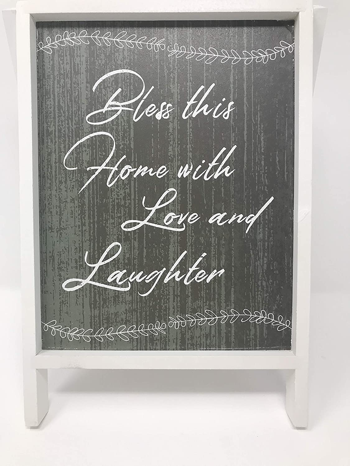 Wood Sign for Home Decor Bless This Home with Love and Laughter Easel Grey and White