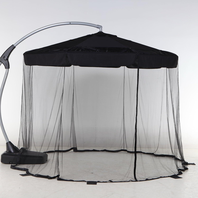 Mosquitera amovible para sombrilla excéntrica redonda 3 m: Amazon ...