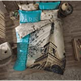 100% Turkish Cotton 4 Pcs!! Paris Eiffel Tower Theme Themed Full Double Queen Size Quilt Duvet Cover Set Bedding Made in Turkey