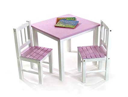 Lipper International 513PK Childu0027s Table And 2 Chairs, Pink And White