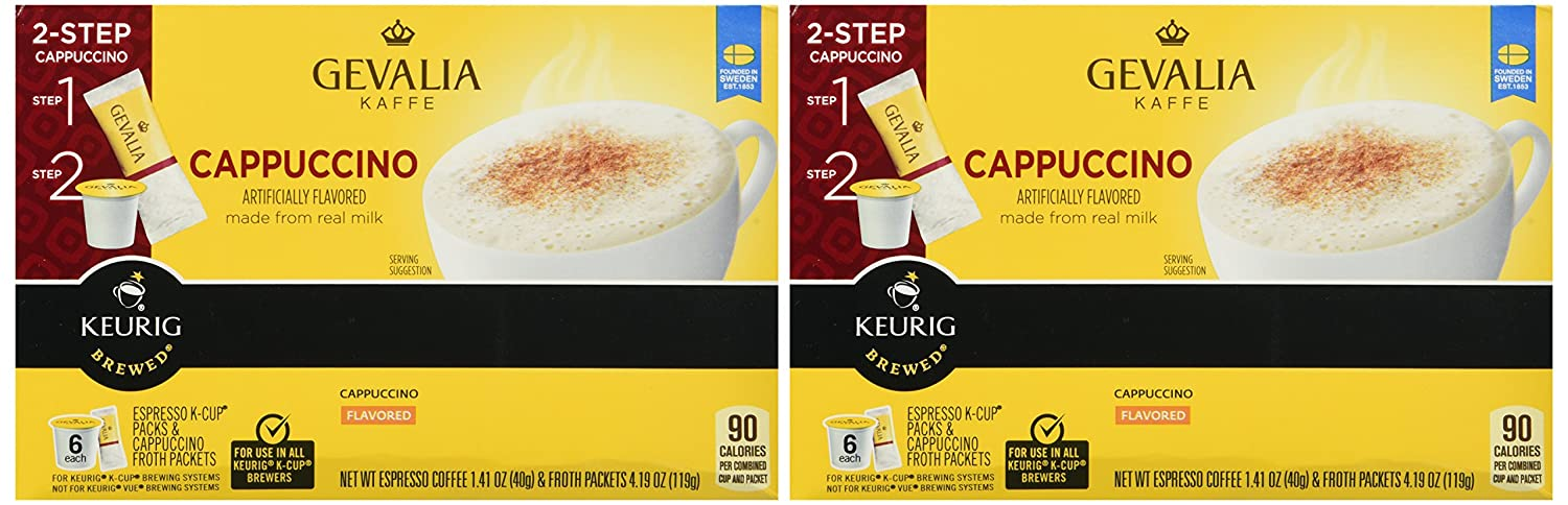 Gevalia Kaffe K-Cup and Froth Packets, 6 Count - Pack of 2 - (Cappuccino)