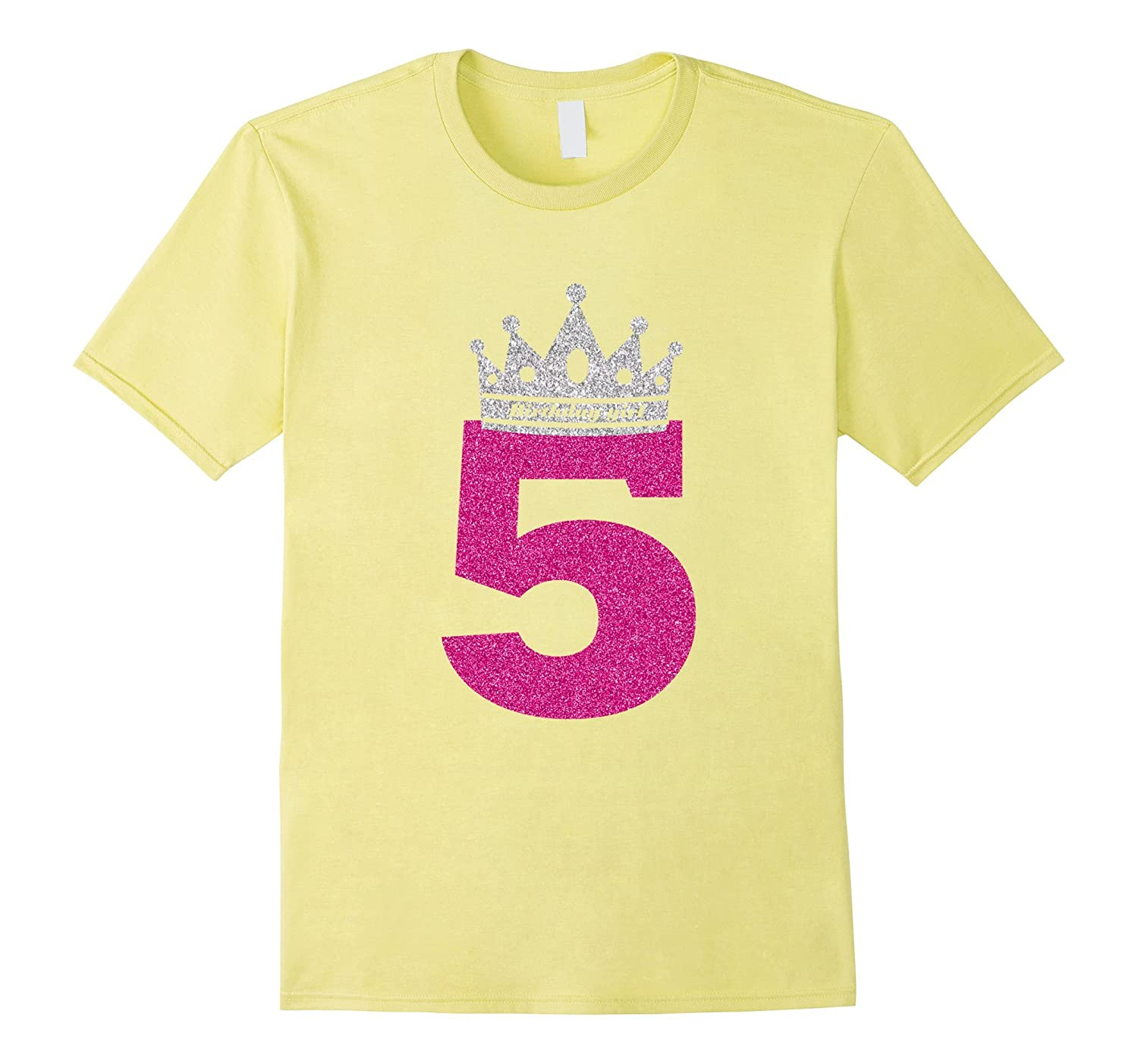 56d882846 5 Years Old Birthday Girl Princess Crown Pink T-shirt-RT – Rateeshirt