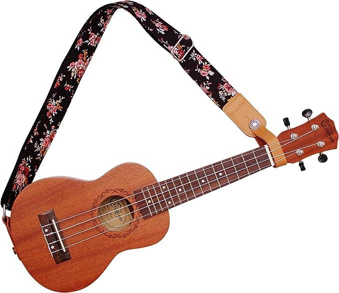 correa de hombro para ukelele Correa para Ukulele con dise/ño original /«rosa multifloral en color crema/» de Music First algod/ón suave y piel aut/éntica