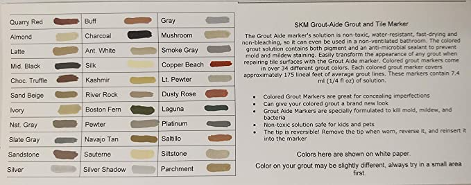 Skm Grout Aide Grout And Tile Marker Almond 33 Colors Available Amazon Com