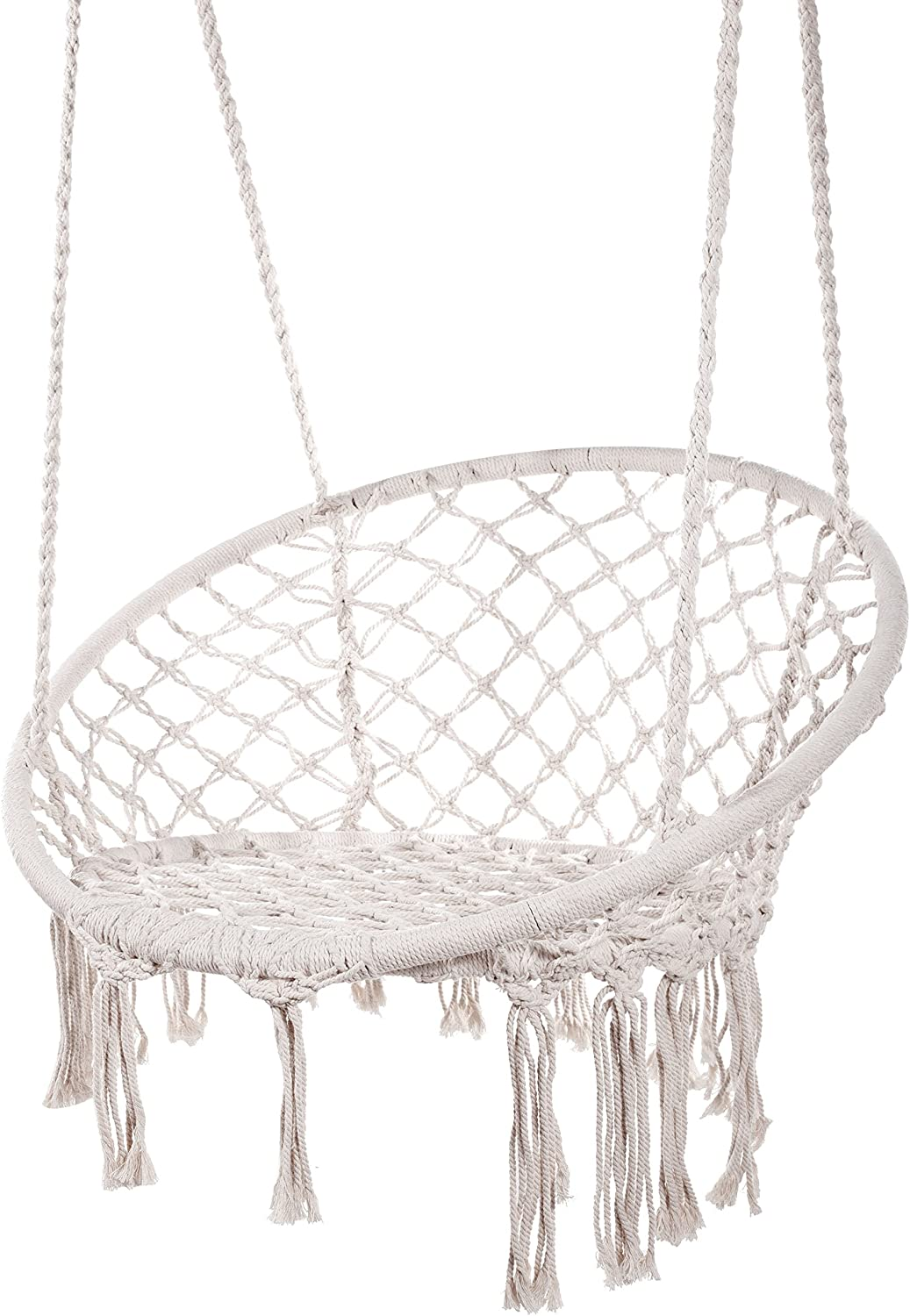 Karriw Hammock Chair Macrame Swing,Cotton Hanging Macrame Hammock Swing Chair Ideal for Indoor, Outdoor, Home,Bedroom, Patio, Deck, Yard, Garden (White)