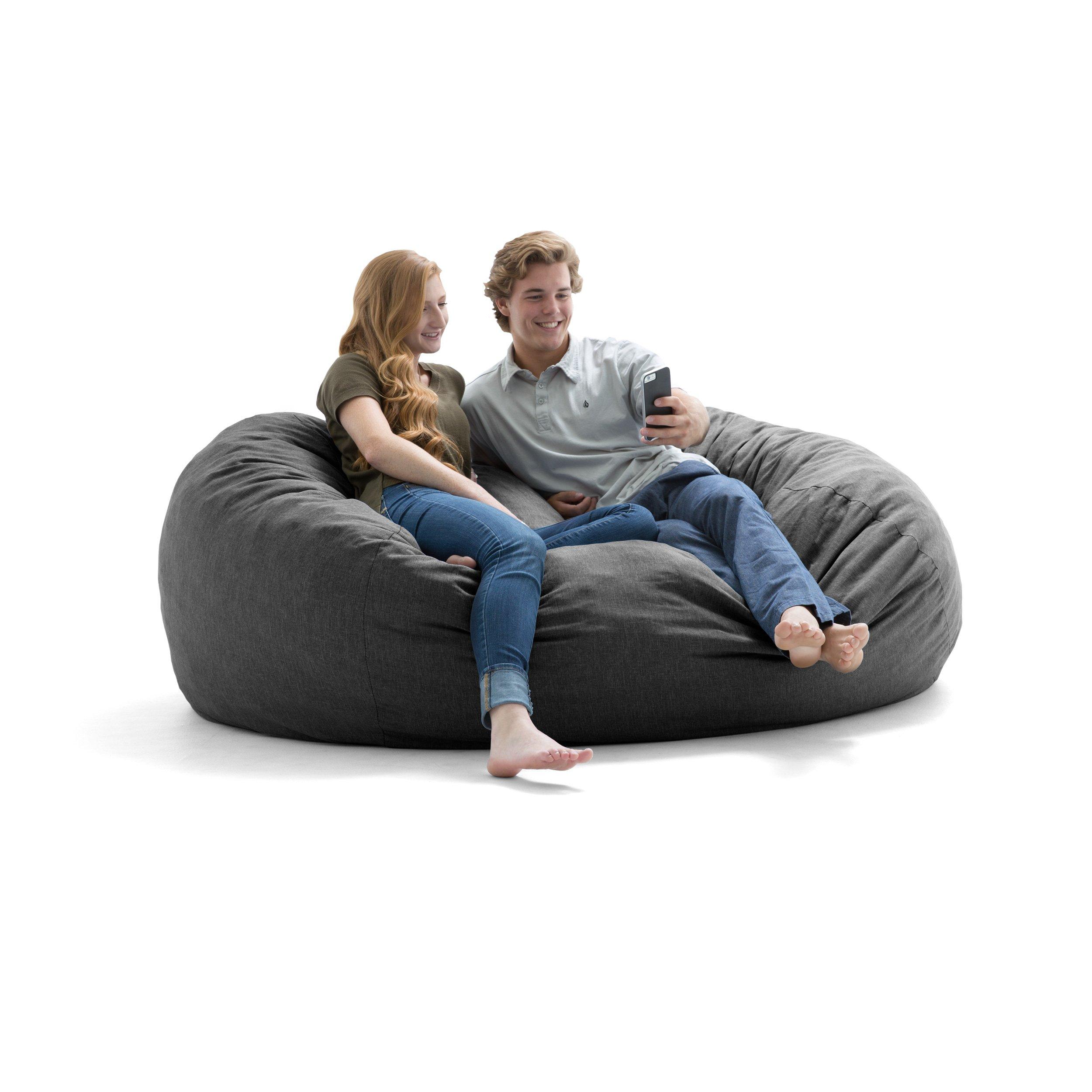 Big Joe Lux XL Fuf Foam Filled Bean Bag Chair, Union, Grey by Big Joe