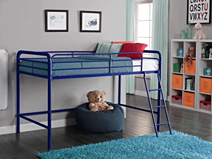Amazon Com Dhp Junior Loft Bed Frame With Ladder Navy Blue