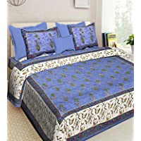 DORMIR TEX Print Rajasthani Jaipuri 100% Cotton Double Bedsheet with 2 Pillow Cover