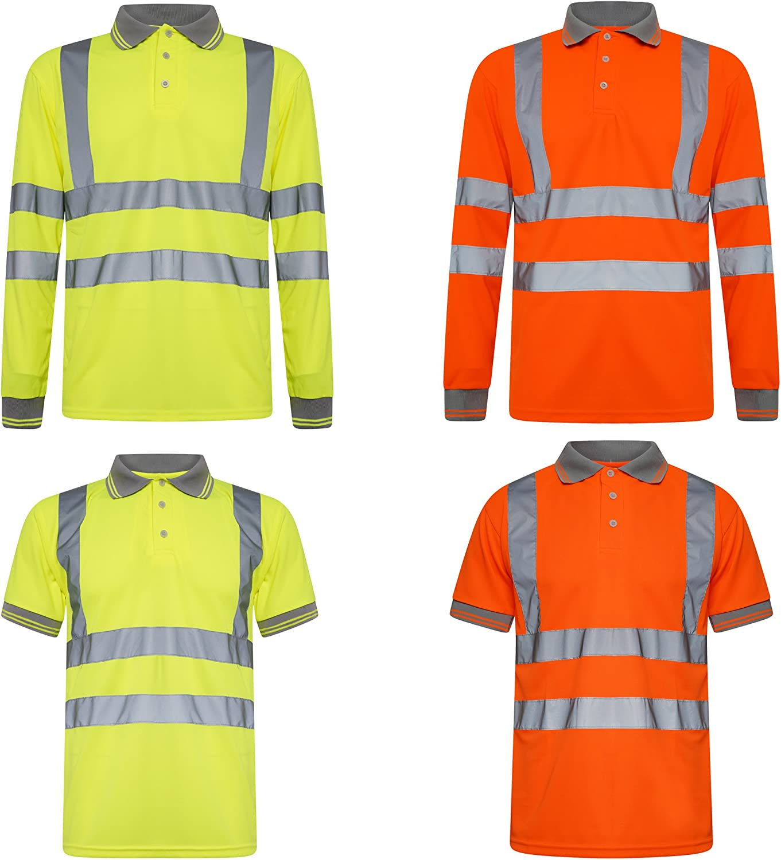 INDX-Clothing Hi Viz t-shirts alta visibilit/à girocollo scollo a V bicolore leggero estate t-shirt top polo abbigliamento lavoro