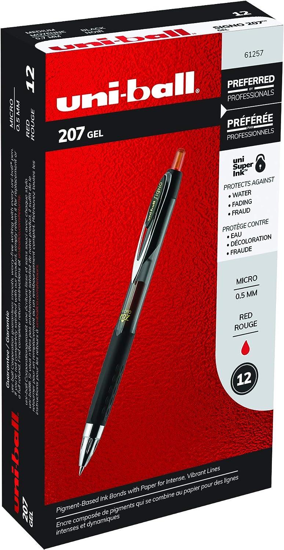 uni-ball 61257 Signo Gel 207 Roller Ball Retractable Gel Pen Red Ink Micro Fine Dozen