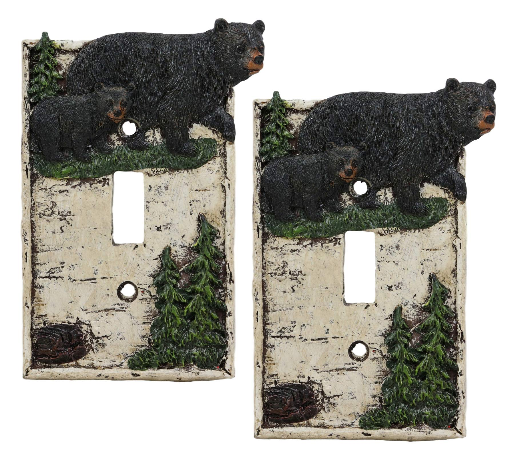 Ebros Set of 2 Novelty Woodland Rustic Pine Trees Forest Black Mother Bear with Cub Wall Light Cover Plate Hand Painted Sculpted Resin Home Decor Accessory 2 Piece Pack (Single Toggle Switch) by Ebros Gift