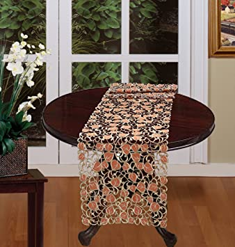 Fall Autumn Harvest Thanksgiving Embroidered Cutwork Leaf Table Runner  15x70u0026quot; Brown Gold Dresser Scarf