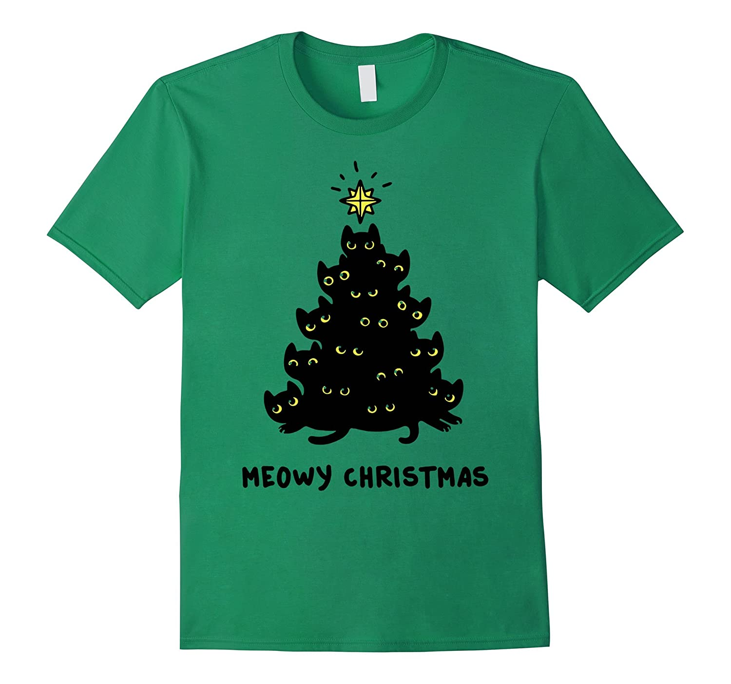 Kitten Tree Christmas T shirt Meowy Christmas tee - Goatstee