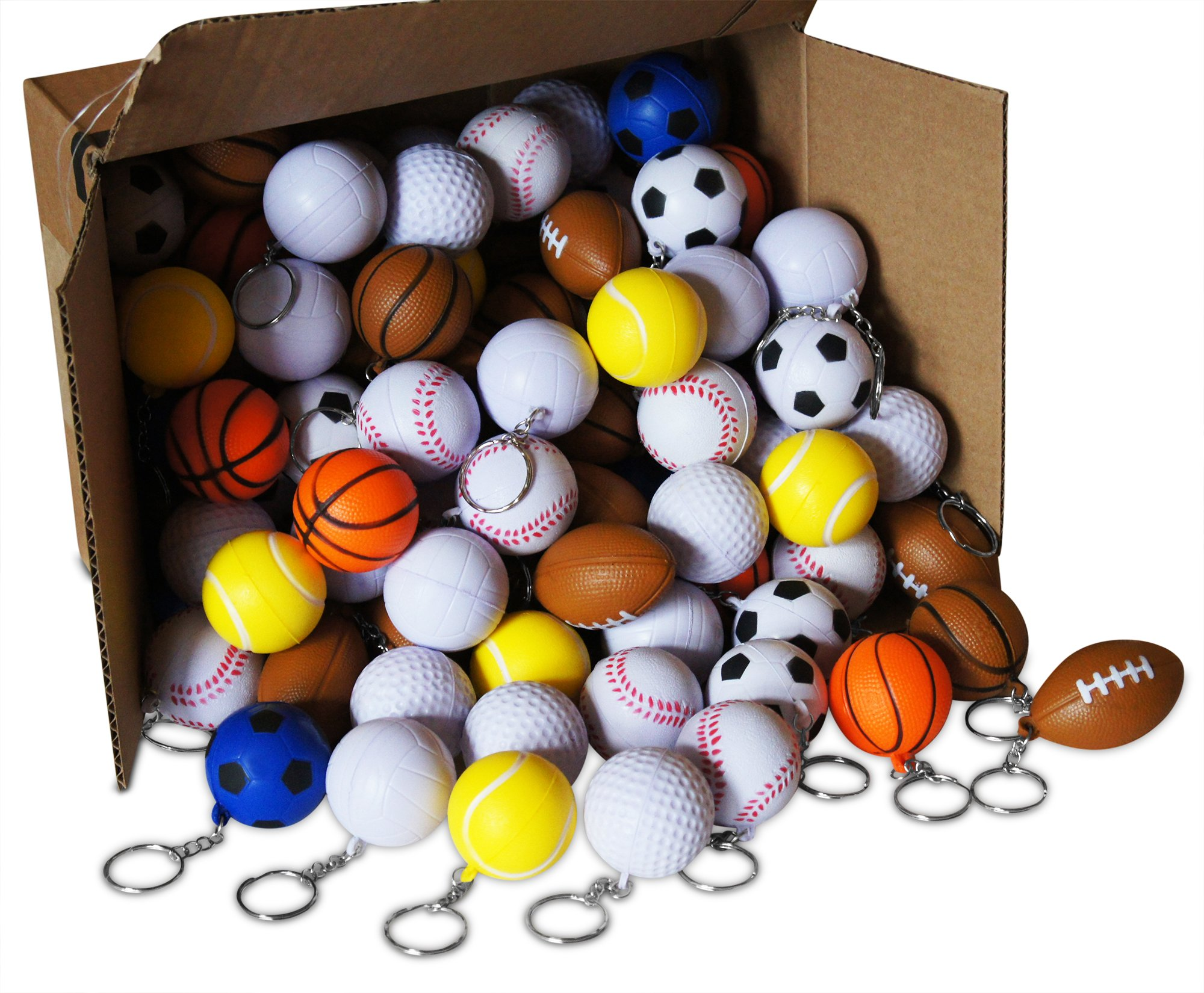 Novel Merk 216-Piece Sports Ball Keychains Pack for Kids Party Favors, School Carnival Prizes, & Business Promotional Item Includes 9 Different Designs by Novel Merk
