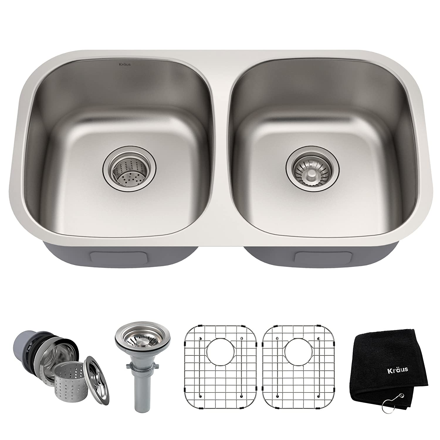Kraus KBU22 32 inch Undermount 50 50 Double Bowl 16 gauge Stainless Steel Kitchen Sink
