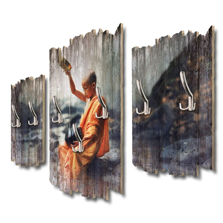 Kreative Feder Junger Buddhist Designer Wandgarderobe Flurgarderobe Wandpaneele 95 x 60 cm aus MDF DTGH068