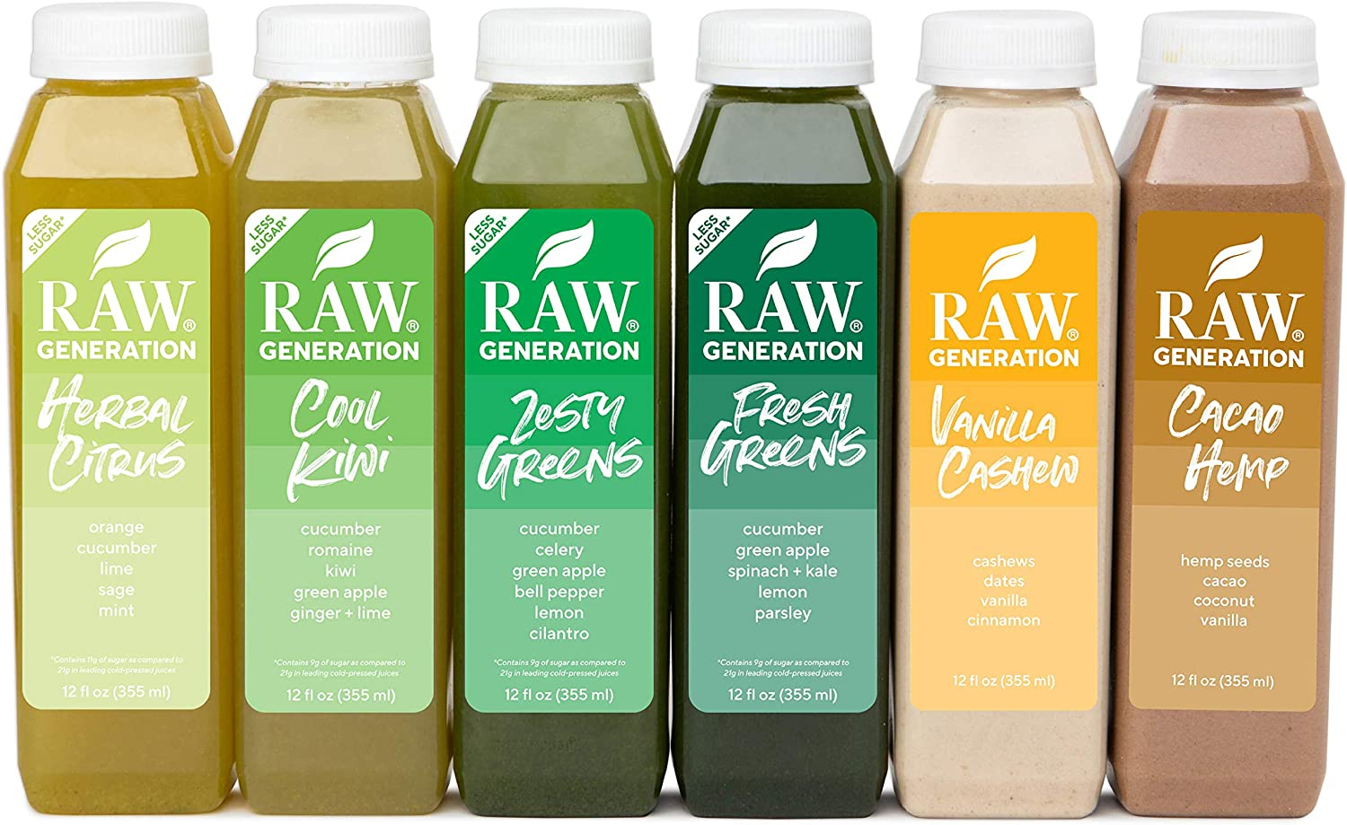 Raw Generation® 5-Day Lower Sugar Juice Cleanse - 65% Less Sugar Than Other Cleanses / Juices with Superfoods / 100% Plant-Based Smoothies / Reboot Your Body Deliciously (30 Count)
