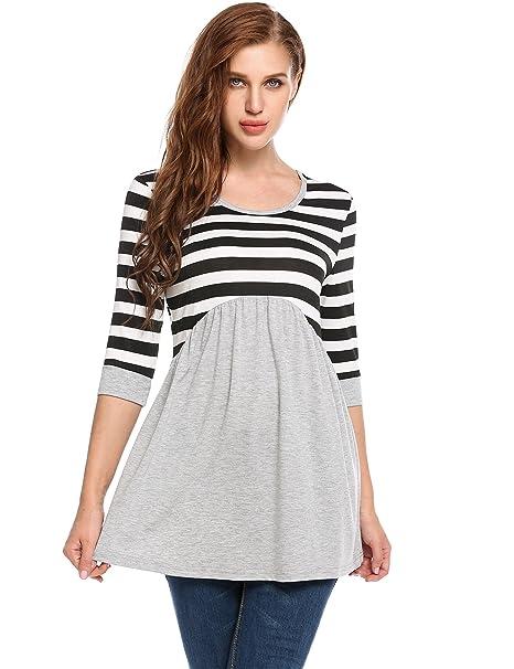 cc28aed4 Meaneor Womens Tunic Dress, Bohemian 3/4 Sleeve Striped Ruffle Tunic Tops T  Shirt