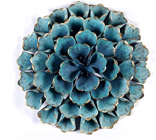Distressed Teal Blue Metal Flowered Wall Art 3D Hanging Flower Sculpture Metallic Gold Accents Living Room Bedroom Home Decor