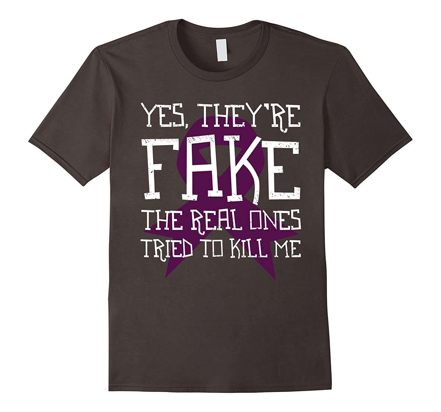Heck Yes They're Fake The Real Breast Cancer Funny T-Shirt-FL