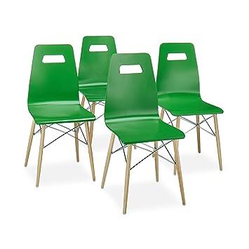 43 40 Relaxdays Set Stuhl 4 StuhlModernHxbxt92 Design X CmRetroGrün ArvidHolzEsszimmer Er l1JKcF