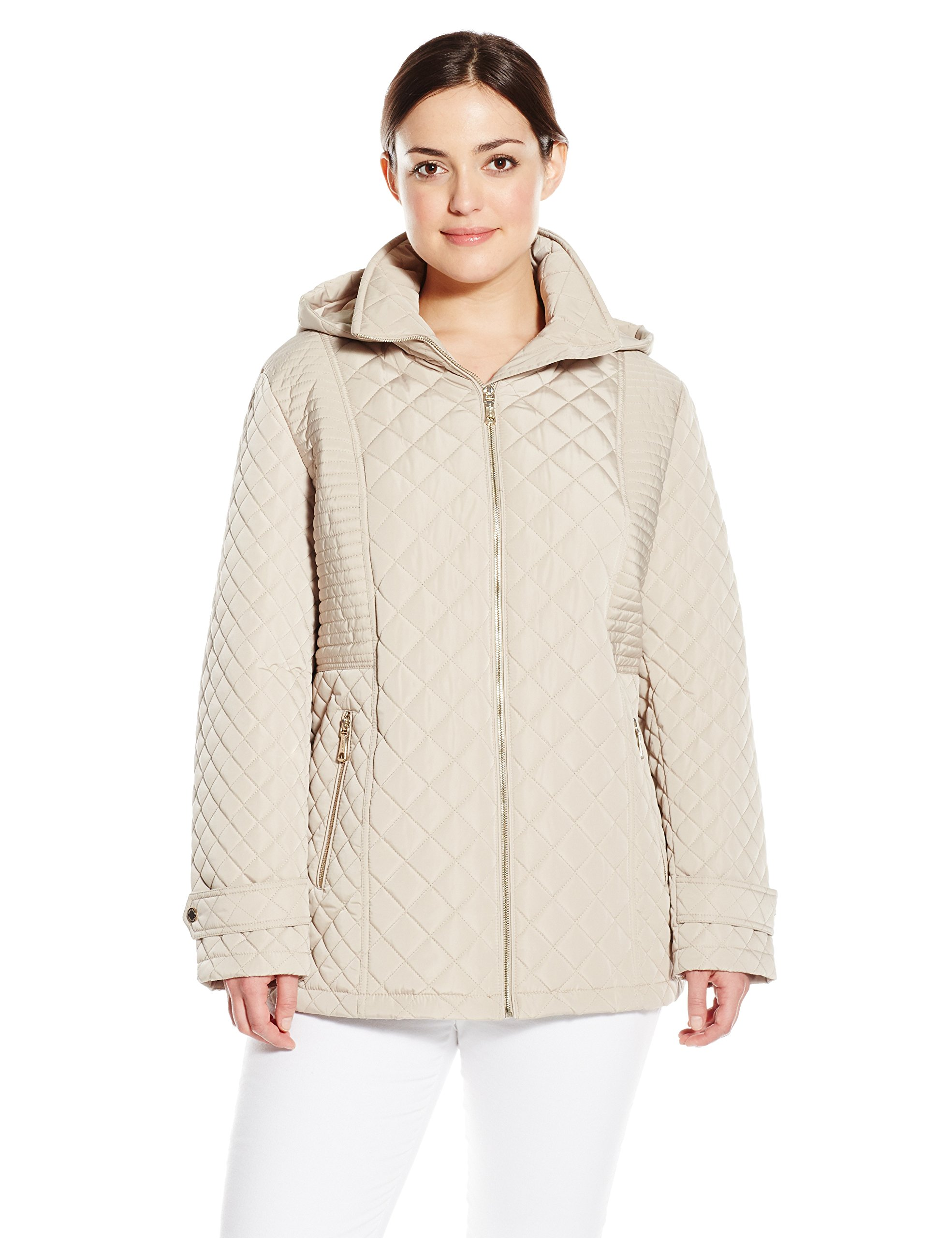 Calvin Klein Women's Plus-Size Quilted Jacket With Hood, Buff, 2X