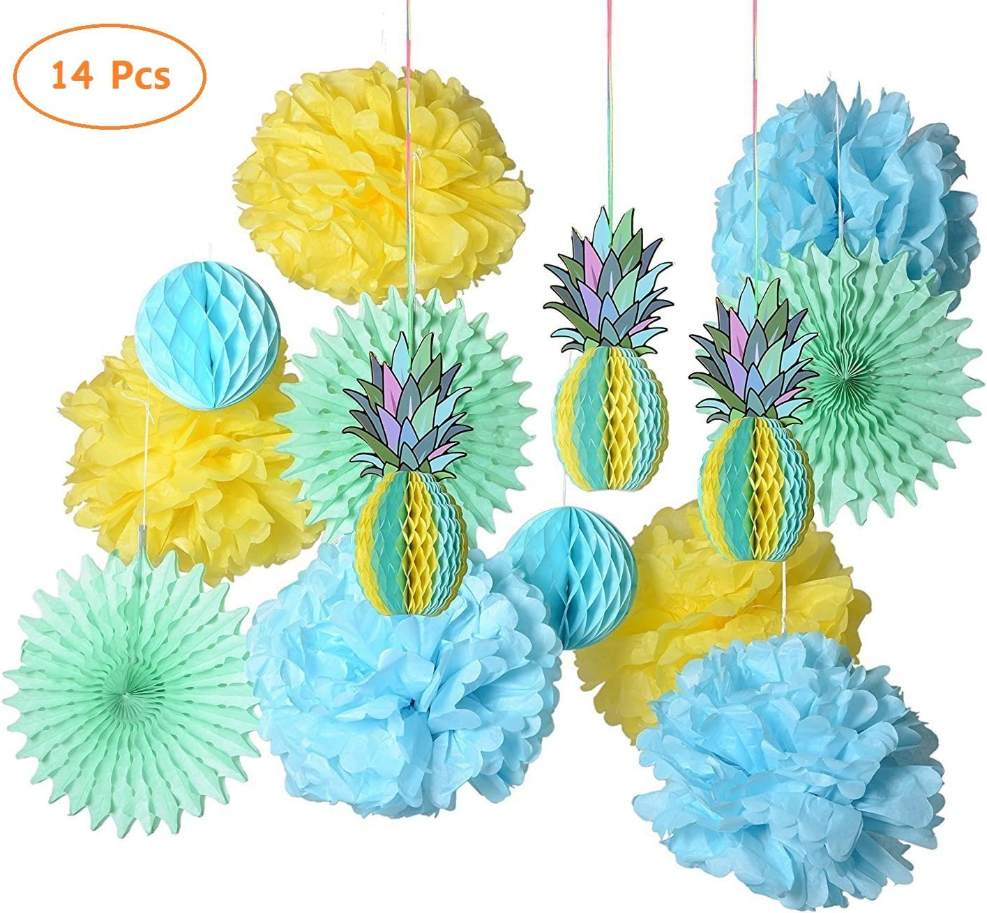 paper jazz Multicolored Paper Honeycomb Pineapple Table Centerpiece Pompom Fan kit Hanging Decoration Decor for Summer Hawaiian laua Tiki Beach Tropical Fruit Party Birthday (Mint Green Set)