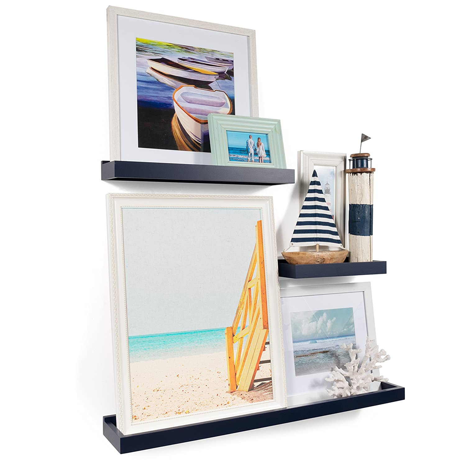 Wallniture Philly 3 Varying Sizes Floating Shelves Trays Bookshelves and Display Bookcase – Modern Wood Shelving for Kids Room and Nursery – Wall Mounted Storage Bathroom Shelf (Navy)