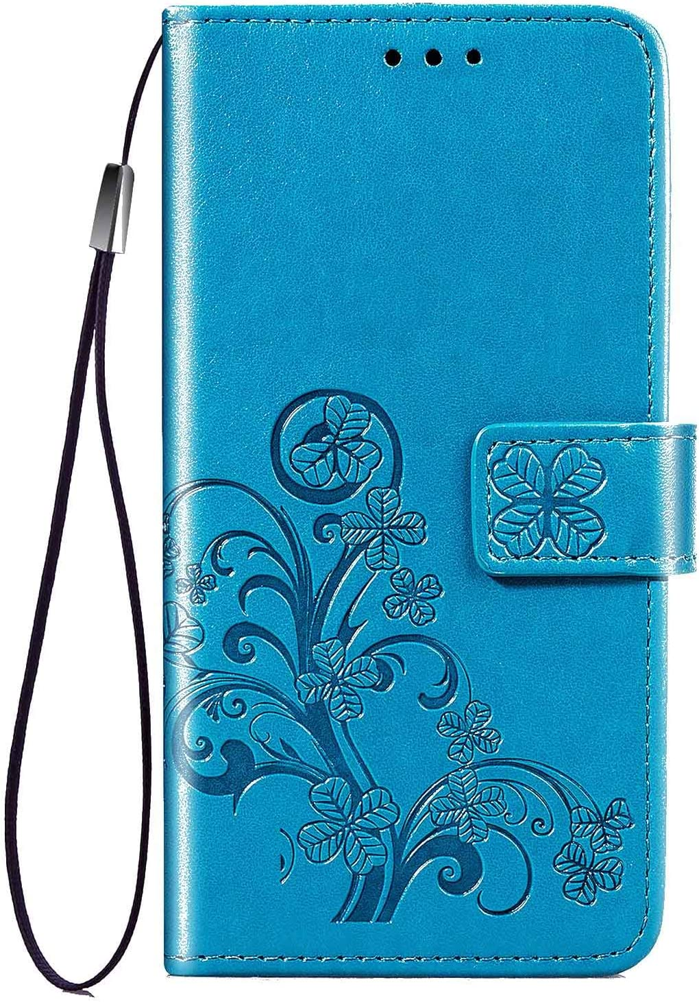 Case Compatible for iPhone 11 Pro 6.5inch,Luxury Wallet Case,[Hand Strap] Handmade Flip Folio Magnetic Closure Cover with [Kickstand Function] and[Card Slots] for iPhone 11 Pro 6.5inch -Blue