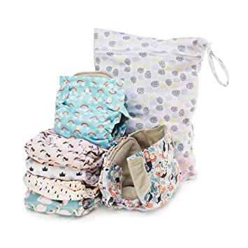 with six 4-layers microfiber inserts Eco-Friendly Unisex Baby Girl Boy Washable Soft Absorbent Waterproof Cover Double Gusset Whimsical One Size Adjustable Simple Being Reusable Cloth Diapers