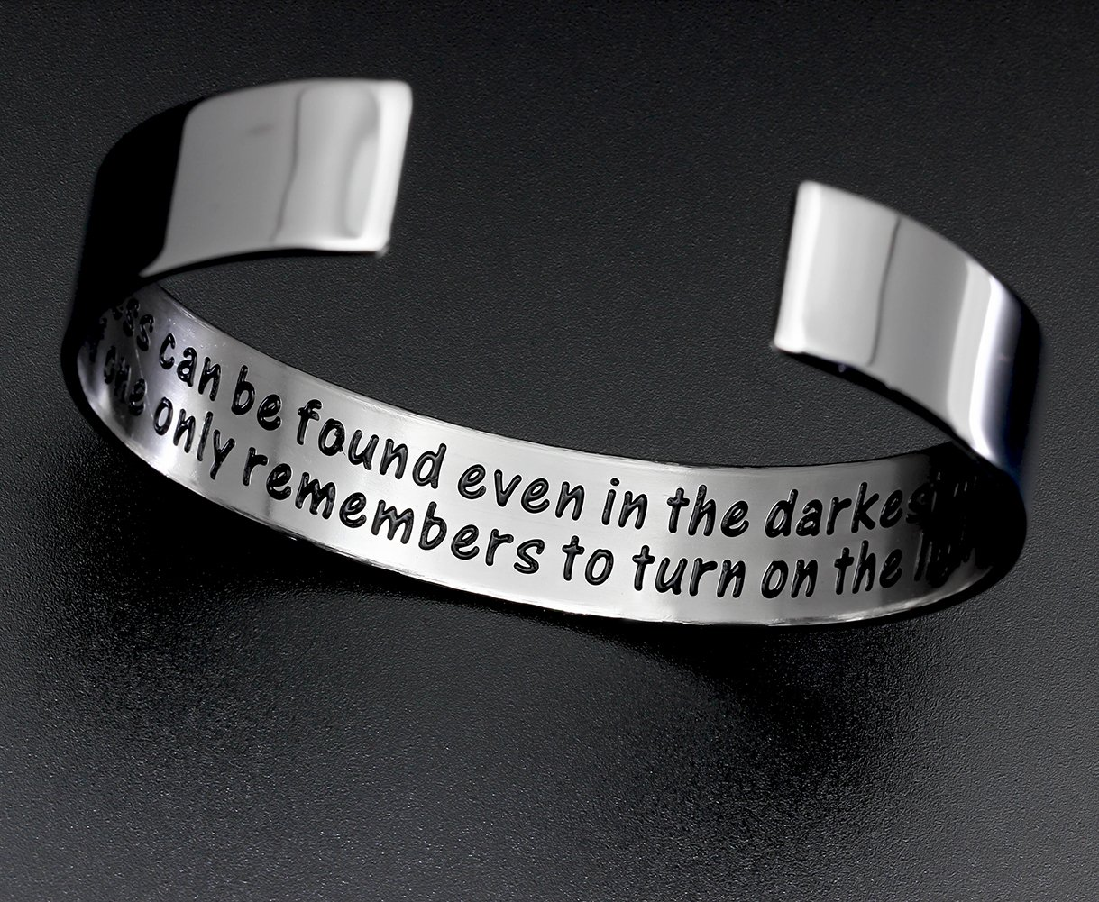 Ms. Clover Encouragement Gift, Happiness Can be Found Even in The Darkest of Times, If One Only Remembers to Turn On The Light. Message Cuff (Grey) by Ms. Clover (Image #3)