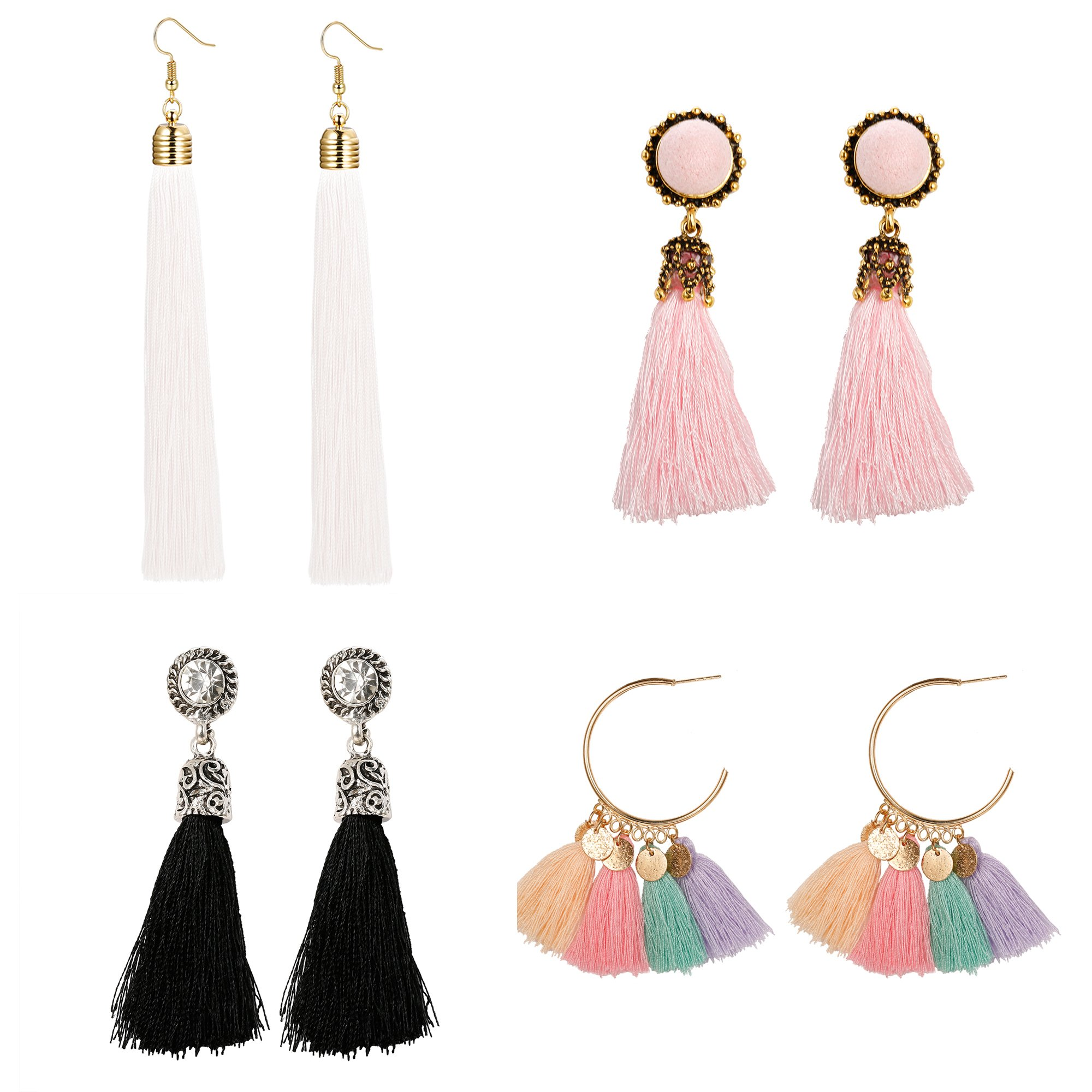 Milacolato 4 Pairs Long Tassel Earrings for Women Girls Dangle Boho Earrings Gold Hoop Bohemian Retro Vintage Assorted Multiple Mixed White L