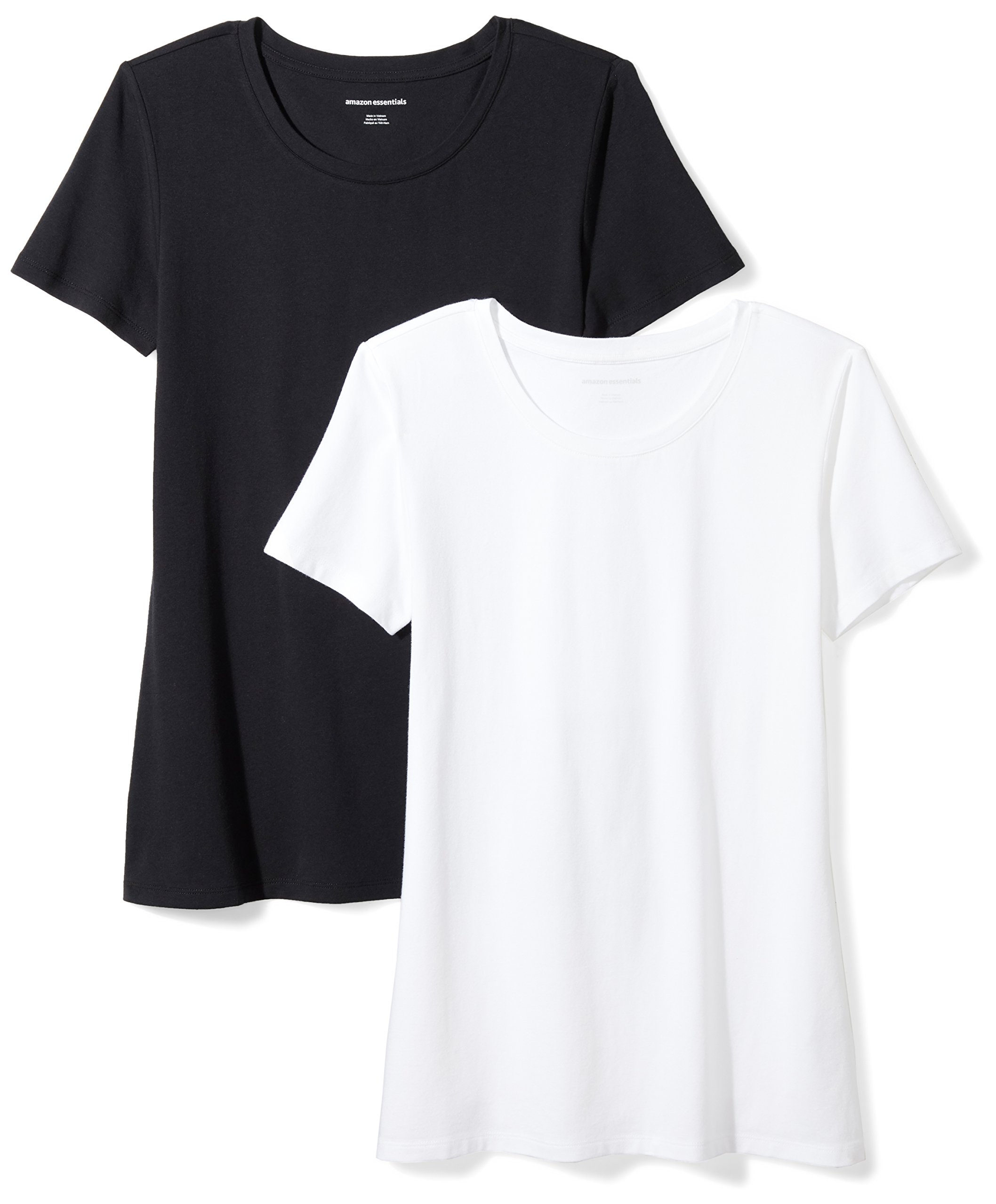 Amazon Essentials Women's 2-Pack Short-Sleeve Crewneck Solid T-Shirt, Black/White, Small