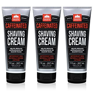 Pacific Shaving Company Caffeinated Shaving Cream - Helps Reduce Appearance of Redness, With Safe, Natural, and Plant-Derived Ingredients Soothes Skin, Paraben-Free, 7 oz (Pack of 3)