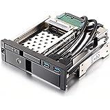 """Dshot - bandeja para ordenador de aleación de aluminio de 5,25"""" (13,33 cm), de estante móvil, con puerta frontal de aluminio de 3,5pulgadas y 2,5pulgadas SATA III HDD y 2puertos USB 3.0 extra"""