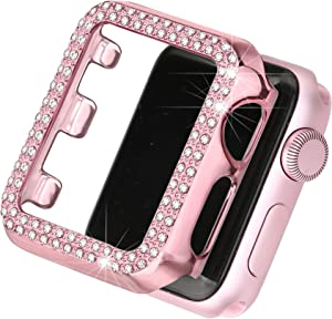 Secbolt Bling Case Compatible with Apple Watch 38mm, Full Cover Bumper Screen Protector for iWatch Series 3 2 1 (Rose Pink-38mm)