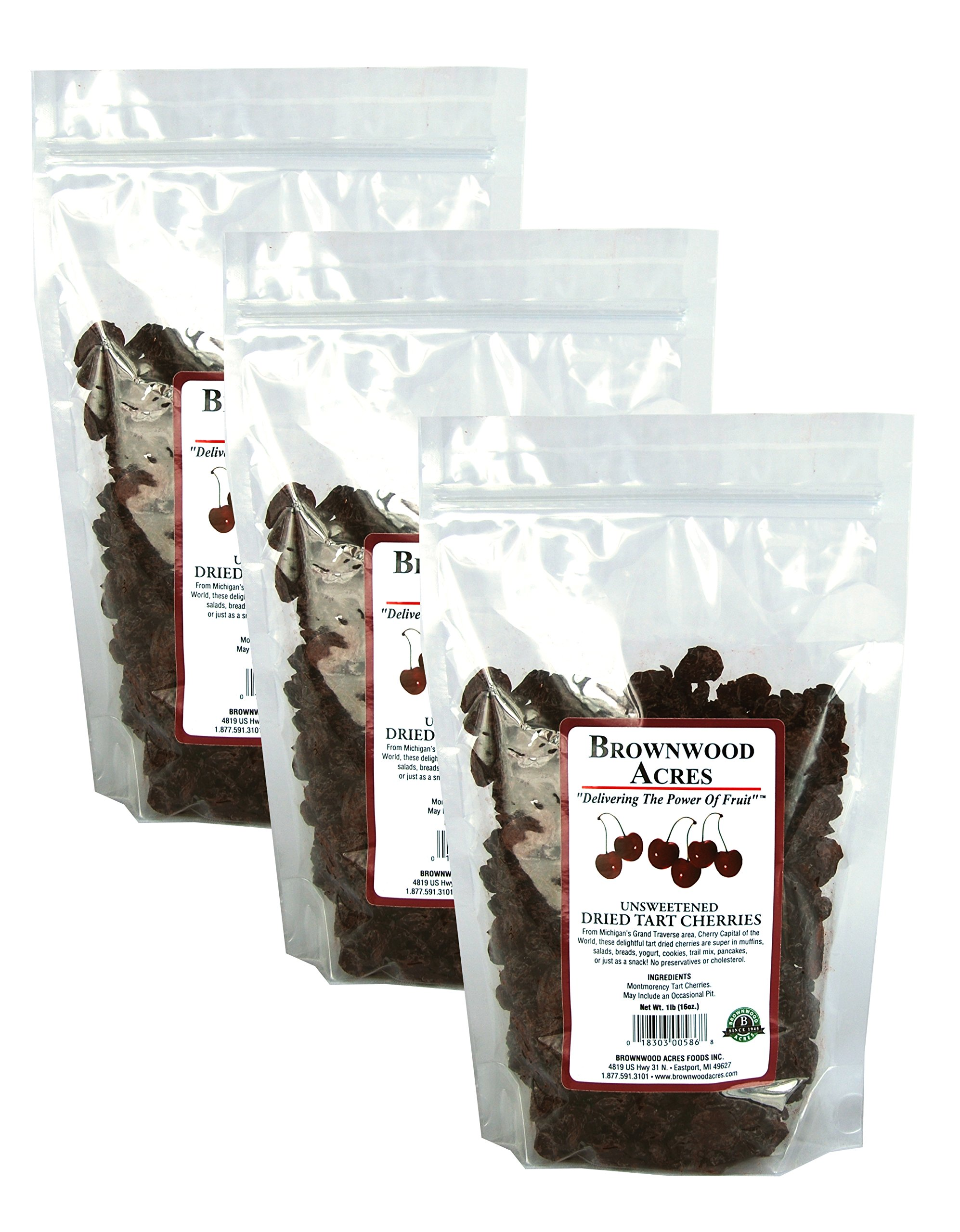 Premium Unsweetened Montmorency Dried Cherries - THREE 1 Pound Bags - Shipping Included