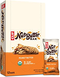 Clif Nut Butter Bar - Organic Snack Bars - Peanut Butter - (1.76 Ounce Protein Snack Bars, 12 Count) (Packaging May Vary)